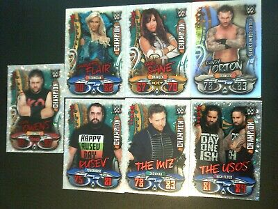 Topps WWE Slam Attax - LIVE 1 Limited Edition Card + 6 Champion Cards Bundle