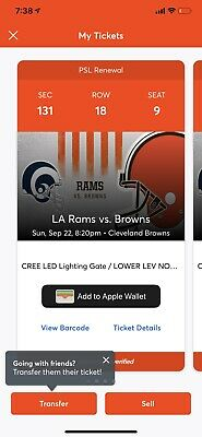 Cleveland Browns vs Los Angeles Rams 2 Lower Level Tickets 18th Row Browns Side