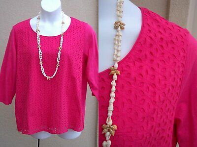 Coldwater Creek hot pink cotton eyelet top shirt plus size 2X 1x fuchsia blouse