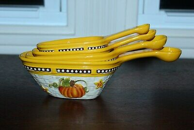 Temp-tations Old World 4 pc Basketweave Scoop and Measure Set Pumpkin Patch NEW
