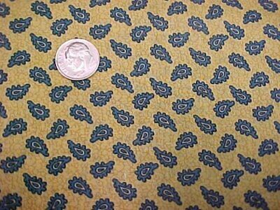 6 Yd Vintage Cotton Fabric Quilt Sew Material Dainty Paisley Mustard Yellow Blue