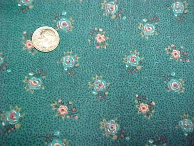4+Yd Vintage Cotton Fabric Quilt Sew Material Roses on Teal Manes Estate Find