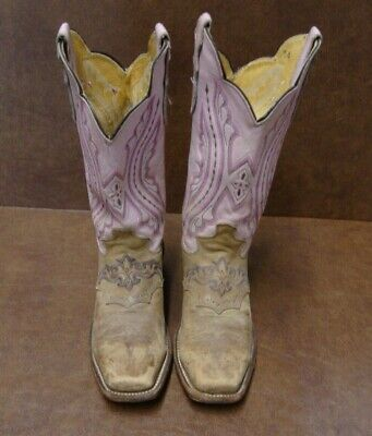 Women's Justin L2667 Brown/Pink Square Toe Leather Cowboy Western Boots 6.5b
