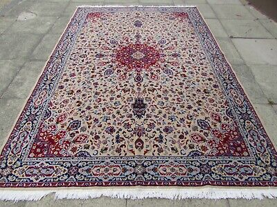 Vintage Traditional Machine Made White Red Wool Carpet 300x200cm