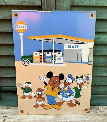 Old Vintage Gulf Gasoline Porcelain Gas Pump Sign