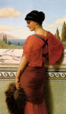 Dream-art Oil painting john william godward - phyllis nice girl & fan standing