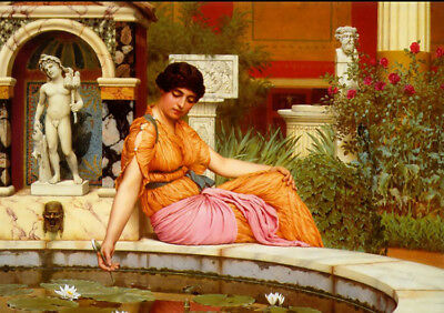 Hand painted Oil painting john william godward a lily pond beauty girl & flowers