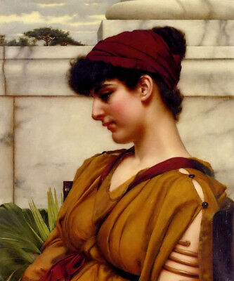 Oil painting john william godward - a classical beauty in profile hand painted