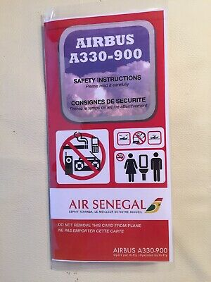 New, AIR SENEGAL Brand New Plastified Safety Card  RARE / Airbus A330-900 NEO