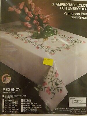 "Tobin Regency Tablecloth Stamped Cross Stitch Kit 58"" x 104"" Oblong"