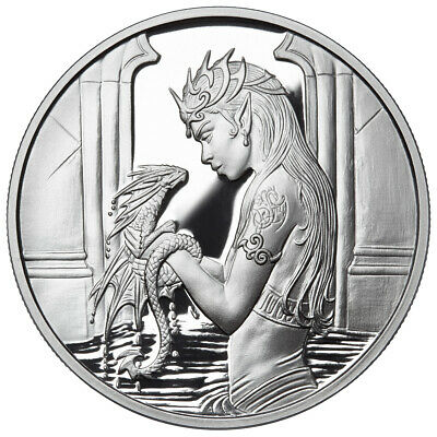 1 Oz Silver Coin Proof Anne Stokes Dragons Water Dragon 4Th In Series 3000 Mint