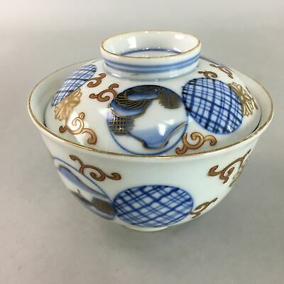 Japanese Imari Lidded Rice Bowl Antique Porcelain Sumetsuke Blue White PT763