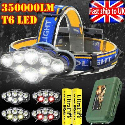 350000LM Rechargeable CREE T6 LED Headlamp Headlight Torch Flashlight Work Light