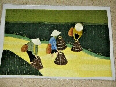 Chinese Ladies Sowing Rice in Field Fabric Stitched Picture Unframed 54x39cm New