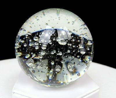 """Studio Art Glass Clear Controlled Bubble Large 3 1/4"""" Paperweight"""