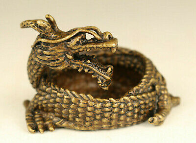 Asian old bronze hand carved dragon statue writing-brush washer