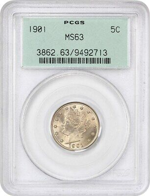 1901 5c PCGS MS63 (OGH) - Liberty V Nickel - Old Green Label Holder