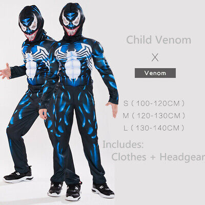 Kids Boys Venom Spider-Man Superhero Cosplay Muscle Costume Party Fancy Dress AU