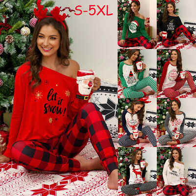 Family Women Girls One Shoulder Christmas Pyjamas Xmas Nightwear Pajamas PJs Set
