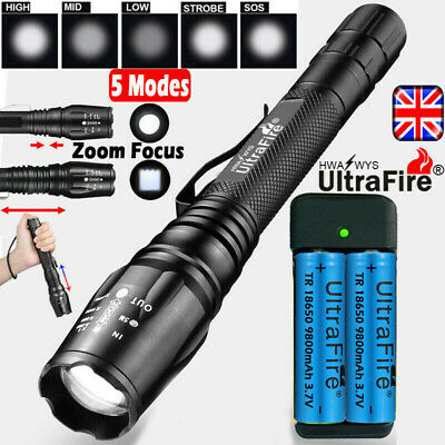 Zoom Tactical Military 350000LM CREE XML T6 LED Flashlight 18650 Torch Headlamp