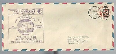 First All North Carolina Flight cover 1937 Eastern Air Lines Asheville/Charlotte