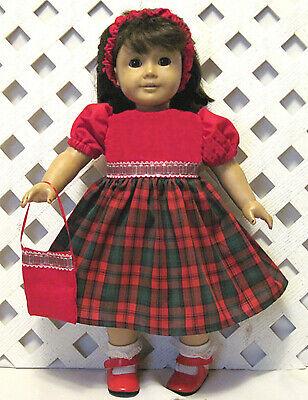 """AMERICAN MADE DOLL CLOTHES FOR 18"""" GIRL DOLL Handmade CHRISTMAS PLAID DRESS"""