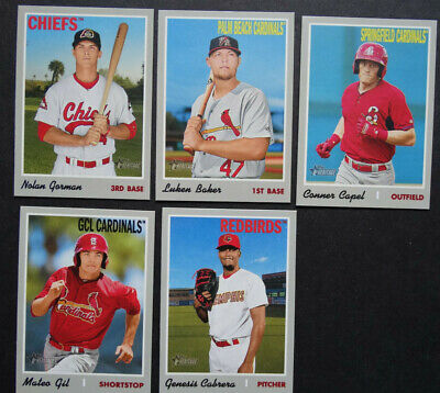 2019 Topps Heritage Minor League St. Louis Cardinals Base Team Set of 5 Cards