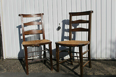 Pair of Shaker style Oak Ladder back church/school chairs with rush seats