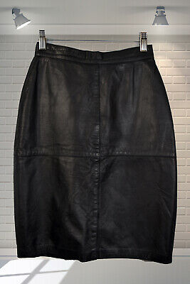"Vintage 1980s Tight Wiggle Pencil Skirt Soft Leather High Waist 24"" Waist"