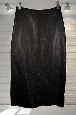 Vintage Longline 1980s Tight Wiggle Pencil Skirt Soft Leather High Waist 24""