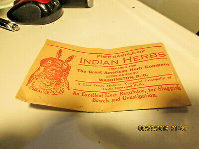 Vintage Sample Indian Herbs-Great American Herb Co-Free Trial Treatment Envelope