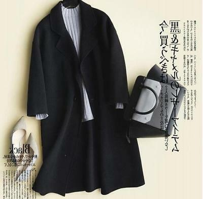 Chic Womens Wool Cashmere Blend Loose Jacket Mid Long Parka Trench Coat Outwear