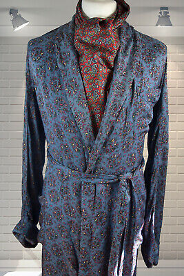 """Vintage Gents 1940s Dandy Paisley Rayon Dressing Gown Smoking Jacket 38"""" Chest"""