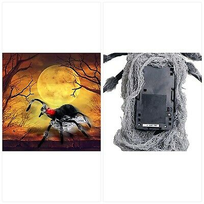 Halloween Haunters Animated Lunging Jumping Black Spider with Red Light-Up Eyes