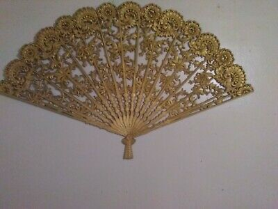 Vintage large gold Burwood fan retro collectible wall decoration