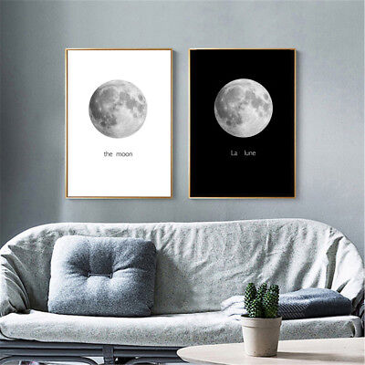 Abstract Black&White Moon Canvas Painting Print Home Room Wall Picture Art Decor