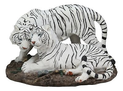Embracing Siberian Bengal White Tiger Couple Family Statue Forest Tigers Decor