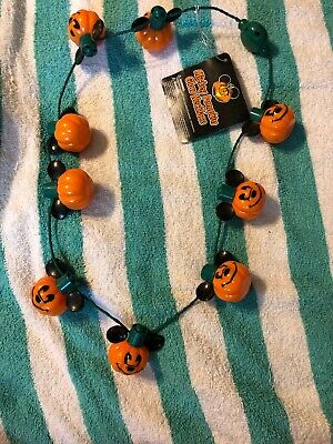 Disney Parks Authentic Mickey Mouse Light Up Pumpkin Jack-O-Lantern Necklace