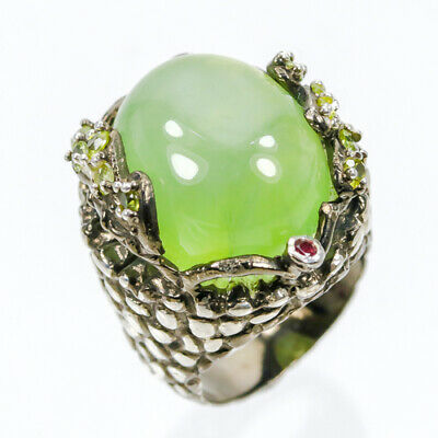 Unique Ring28ct  Natural Prehnite 925 Sterling Silver Ring Size 7.75/R44365