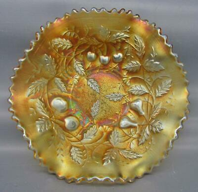 Northwood FRUITS & FLOWERS STIPPLED VARIANT Marigold Carnival Glass Bowl 7201