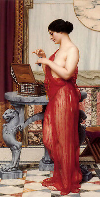 Art Oil painting john william godward - the new perfume nice beauty girl canvas