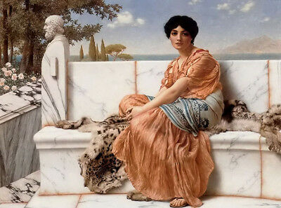 Dream-art Oil painting john william godward in the days of sappho lady girl seat