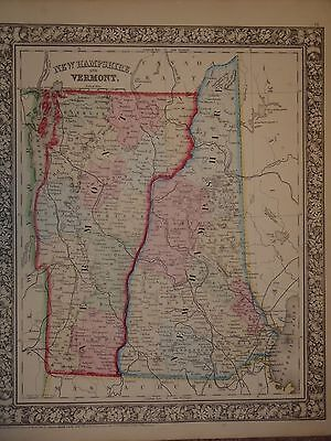 Vintage 1860 Map New Hampshire Vermont Map Old Antique Original Atlas Map 122714