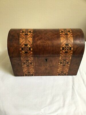 Victorian Mahogany Inlaid Tea Caddy With Dome Lid In Excellent Condition No Key