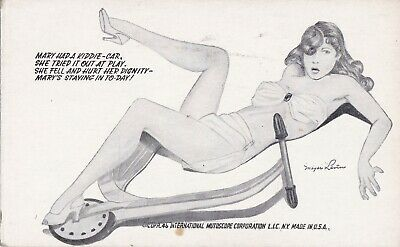 MEYER LEVIN-art illustrated PIN-UP/CHEESECAKE 1946 mutoscope ARCADE/EXHIBIT card