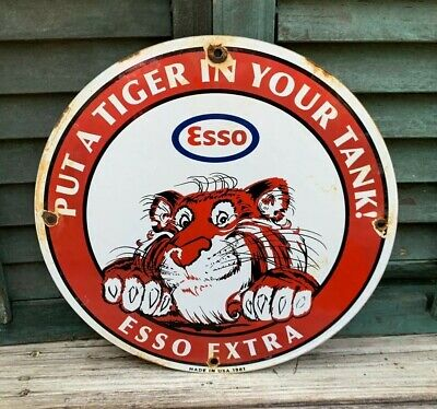 "Vintage 1961 Esso Extra Gasoline Porcelain Gas Pump ""Put A Tiger In Your Tank"""