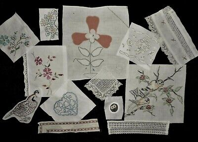 Vintage Finished Hand Embroidery Craft Lot Floral Birds Lace Crazy Quilt Blocks