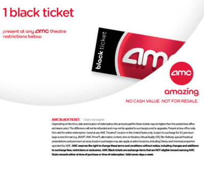 FAST DELIVERY. AMC Black Movie Tickets. (Any State, Any Movie) - No Exp