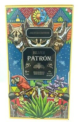 Patron Tequila Silver Bee Tin Box Ltd Edition Mexico Agave Wolf Butterfly Macaw
