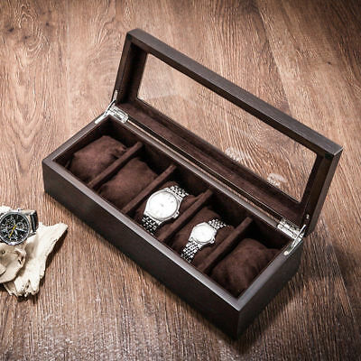 5 Grids Fraxinus Ash Wood Watch Display Case Box Jewelry Storage Organizer Hold